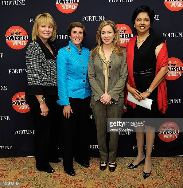 CEO of Yahoo Carol Bartz CEO of Kraft Irene Rosenfeld Columnist and CNBC Coanchor Becky Quick and Chairman and CEO of Pepsi Co Indra Nooyi attend the...