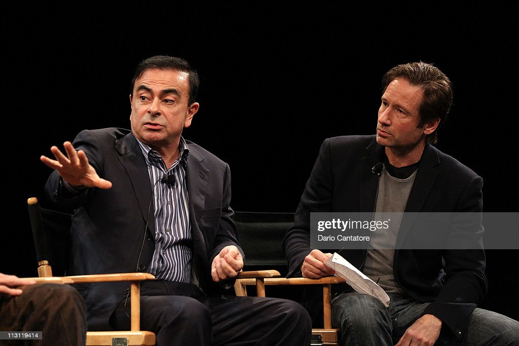 CEO of Yokohama Carlos Ghosn and actor David Duchovny speak during the Tribeca Talks After The Movie: 'Revenge of the Electric Car' during the 2011 Tribeca Film Festival at the SVA Theater on April 23, 2011 in New York City.