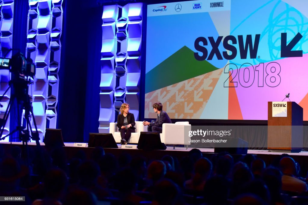 CEO of YouTube Susan Wojcicki (L) and Nicholas Thompson speak onstage at Navigating the Video Revolution in the Digital Age during SXSW on March 13, 2018 in Austin, Texas.