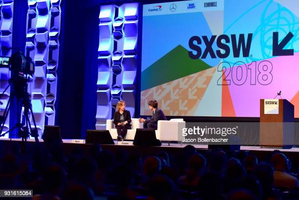 CEO of YouTube Susan Wojcicki and Nicholas Thompson speak onstage at Navigating the Video Revolution in the Digital Age during SXSW on March 13 2018...