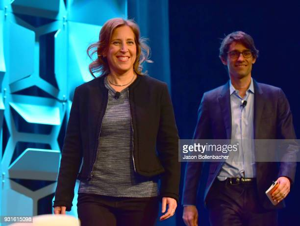 CEO of YouTube Susan Wojcicki and Nicholas Thompson walk onstage at Navigating the Video Revolution in the Digital Age during SXSW on March 13 2018...
