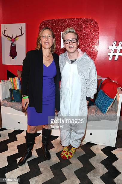 CEO of Youtube Susan Wojcicki and YouTube personality Tyler Oakley at #YTMeetup at Skylight at Moynihan Station on April 29 2015 in New York City