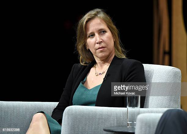 """Of YouTube, Susan Wojcicki, speaks onstage during """"What If the Platform Is the Message? """" at the Vanity Fair New Establishment Summit at Yerba Buena..."""