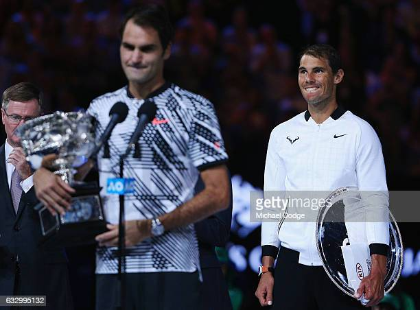 XXX of ZZZ plays a XXXX in the Men's Final match against XXXX of ZZZZ on day 14 of the 2017 Australian Open at Melbourne Park on January 29 2017 in...