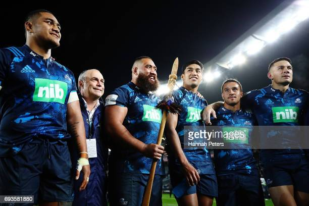 Ofa Tu'ungafasi Charlie Faumuina Rieko Ioane Sam Nock and Sonny Bill Williams celebrate after winning the match between the Auckland Blues and the...