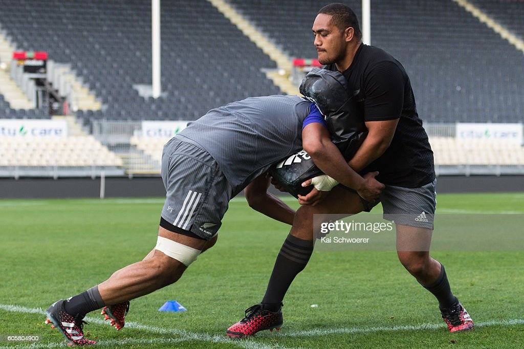 Ofa Tuungafasi of the All Blacks in action during a New Zealand All Blacks training session on September 15, 2016 in Christchurch, New Zealand.
