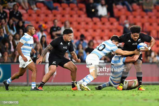 Ofa Tuungafasi of the All Blacks is tackled during The Rugby Championship match between the Argentina Pumas and the New Zealand All Blacks at Suncorp...