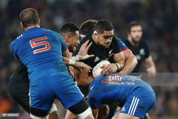 Ofa Tu'ungafasi of the All Blacks on the charge during the International Test match between the New Zealand All Blacks and France at Forsyth Barr...