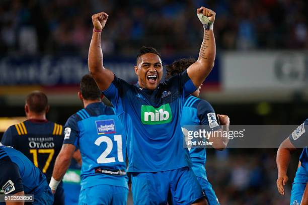 Ofa Tuungafasi of the Blues celebrates on full time during the round one Super Rugby match between the Blues and the Highlanders at Eden Park on...