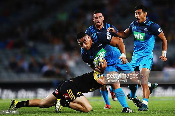 Ofa Tuungafasi of the Blues charges forward during the round three Super Rugby match between the Blues and the Hurricanes at Eden Park on March 11,...