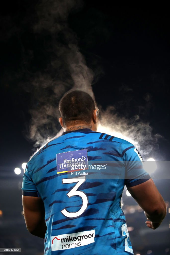 Ofa Tuungafasi of the Blues during the round 17 Super Rugby match between the Blues and the Reds at Eden Park on June 29, 2018 in Auckland, New Zealand.