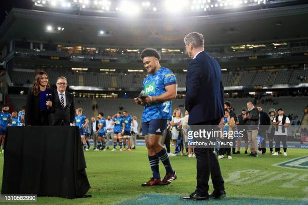 Ofa Tuungafasi of the Blues is congratulated for his 100th game after the round 6 Super Rugby Aotearoa match between the Blues and the Hurricanes at...