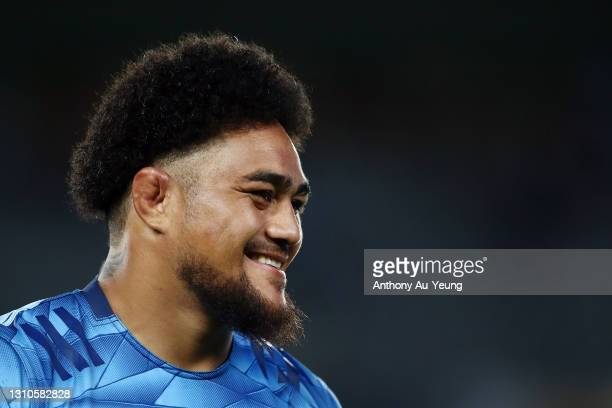 Ofa Tuungafasi of the Blues looks on after winning the round 6 Super Rugby Aotearoa match between the Blues and the Hurricanes at Eden Park, on April...