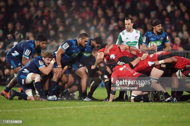 Ofa Tu'ungafasi of the Blues looks on as the scrum packs during the round 15 Super Rugby match between the Crusaders and the Blues at Christchurch...