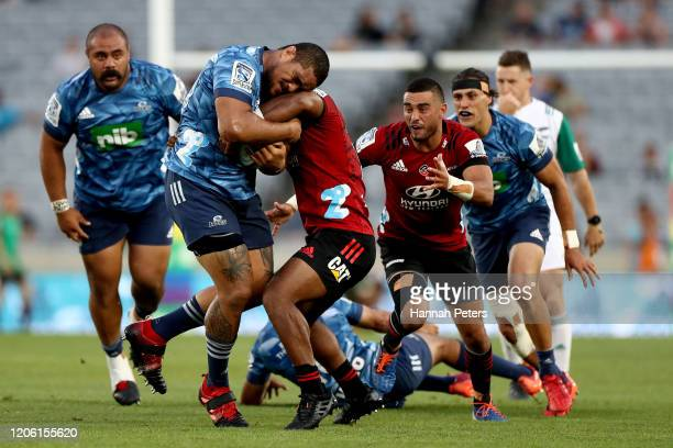 Ofa Tuungafasi of the Blues makes a break during the round 3 Super Rugby match between the Blues and the Crusaders at Eden Park on February 14, 2020...