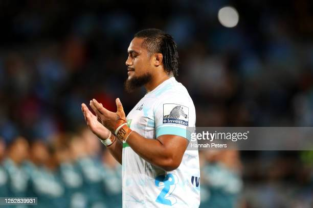 Ofa Tu'ungafasi of the Blues prays during the round 3 Super Rugby Aotearoa match between the Blues and the Highlanders at Eden Park on June 27, 2020...
