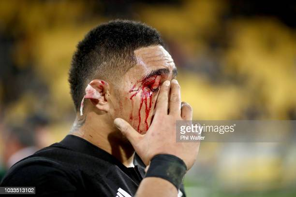 Ofa Tuungafasi of the New Zealand All Blacks shows his dispair following The Rugby Championship match between the New Zealand All Blacks and the...