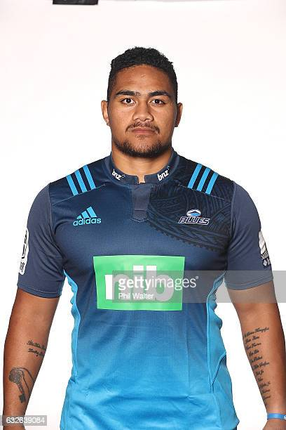 Ofa Tu'ungafasi poses during the Auckland Blues Super Rugby headshots session at ASB Showgrounds on January 25 2017 in Auckland New Zealand