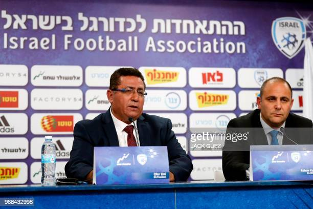 Ofer Eini President of the Israeli Football Association and Rotem Kamer CEO of the Israeli football Association take part in a press conference on...