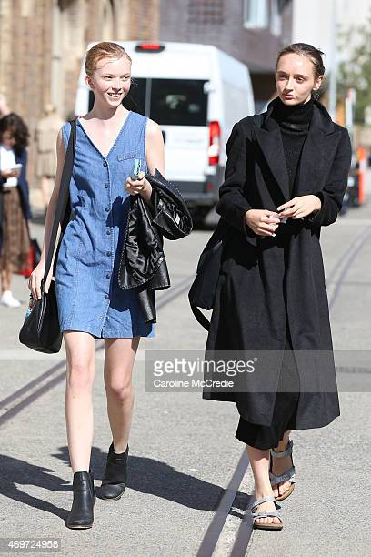 Off duty models are seen at MercedesBenz Fashion Week Australia 2015 at Carriageworks on April 15 2015 in Sydney Australia