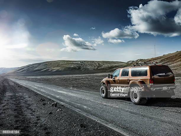 Off -road car in icelandic landscape, Iceland