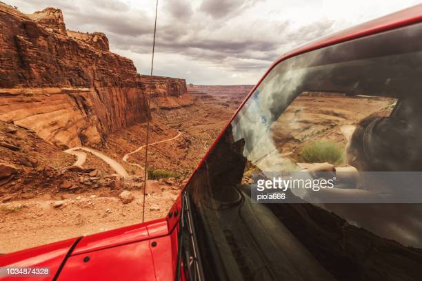off road shafer trail in canyon near moab - jeep stock pictures, royalty-free photos & images