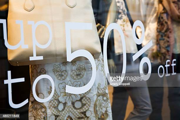 50% off sale at clothes shop