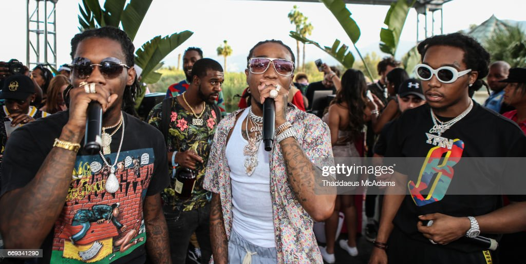 Off Set, Quavo and Take Off of the Migos perform at the Revolve Desert house on April 16, 2017 in Palm Springs, California.