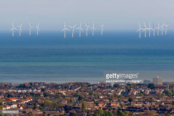 off shore wind farm - west sussex stock pictures, royalty-free photos & images