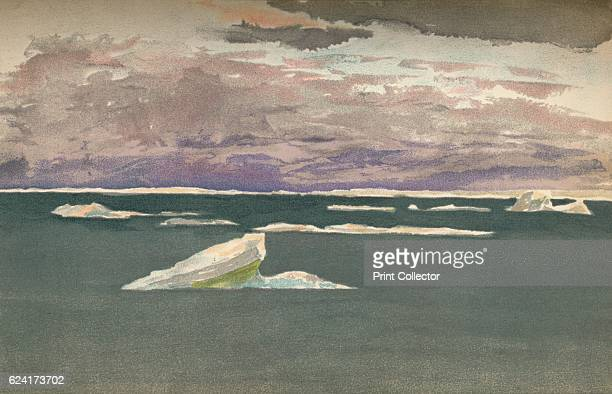 Off the Edge of the Ice Gathering Storm 14th September 1893 WaterColour Sketch from Farthest North Vol 1 by Fridtjof Nansen [Archibald Constable and...