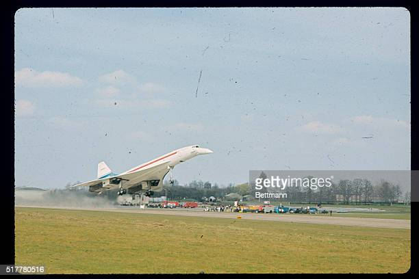 Off the groundfor the very first timeis the Britishbuilt prototype of the AngloFrench supersonic airliner 'Concorde 002'The liner piloted by test...