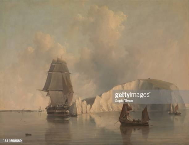 Off the Needles, Isle of Wight, Edward William Cooke, 1811–1880, British Oil on canvas, Support : 27 1/2 × 35 1/2 inches , boats, cave, cavern,...