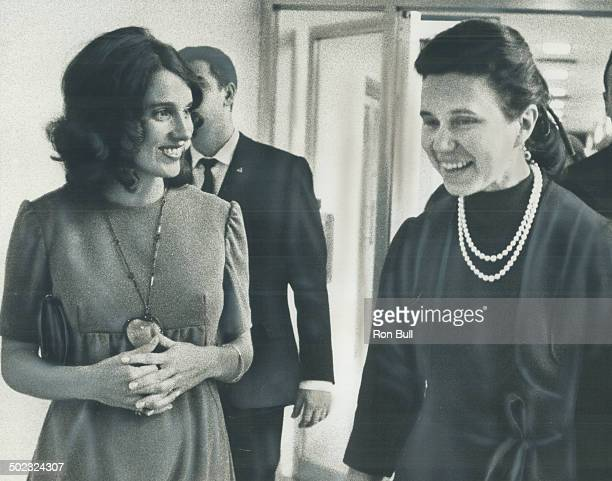 Off to a champagne lunch at the Park Plaza Hotel in Toronto today Mrs Margaret Trudeau wearing a pendant escorts Mrs Ludmila Gvishiani daughter of...