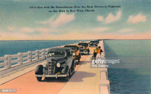 Off to Sea with No Seasickness Over the New Overseas Highway on the Way to Key West Florida' circa 1940s From Souvenir Folder of Quaint Key West Fla...