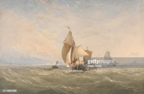 Off to the Fishing Grounds, Thomas Sewell Robins, 1814–1880, British, between 1830 and 1880, Watercolor and graphite with scratching out on thick,...