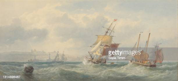 Off Whitby, Edward Duncan, 1803–1882, British Watercolor, with pen, in brown ink, graphite, gouache and scratching out on moderately thick, slightly...