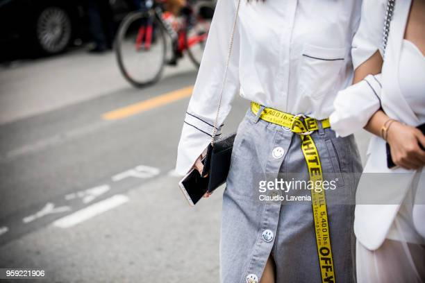 Off White belt detail is seen in the streets of Cannes during the 71st annual Cannes Film Festival on May 16 2018 in Cannes France
