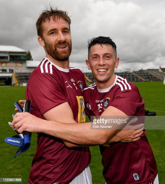 Offaly , Ireland - 4 July 2021; Westmeath players, Kevin Maguire, left, and Rónan O'Toole after the Leinster GAA Football Senior Championship...