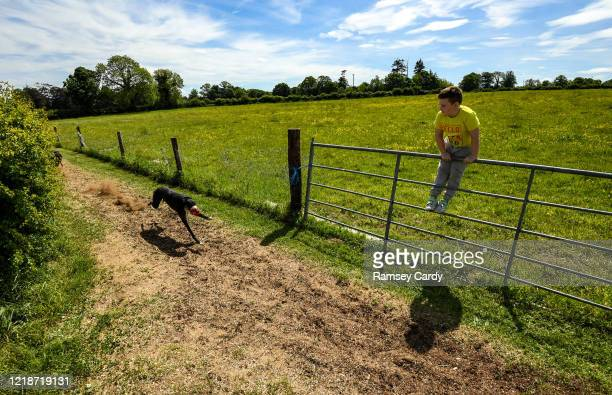 Offaly Ireland 9 June 2020 Tourbo Flame and Powerful Boy on the gallops in Geashill Offaly as Daniel Bolton watches on Following directives from the...