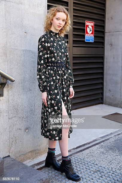 Offduty model Lily Nova arrives at MercedesBenz Fashion Week Resort 17 Collections at Carriageworks on May 19 2016 in Sydney New South Wales