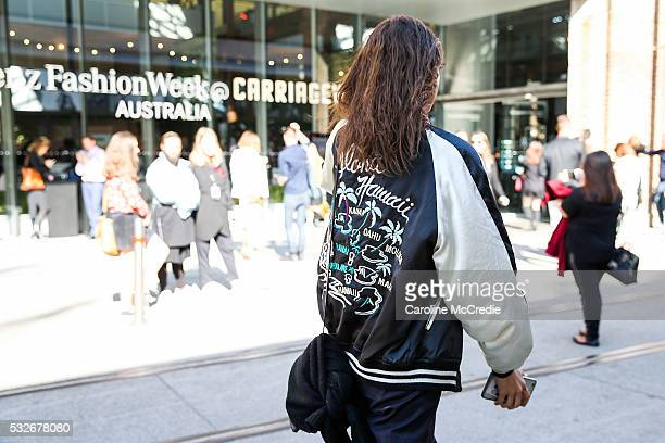 Offduty model Roberta Pecoraro wearing vintage inspired jacket at MercedesBenz Fashion Week Resort 17 Collections at Carriageworks on May 19 2016 in...