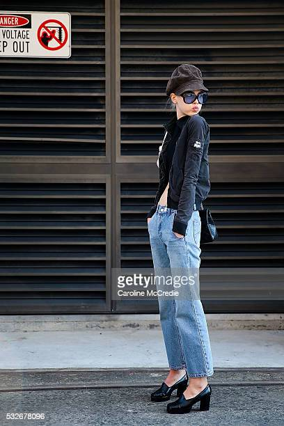 Offduty model RubyJean Wilson arrives at MercedesBenz Fashion Week Resort 17 Collections at Carriageworks on May 19 2016 in Sydney New South Wales