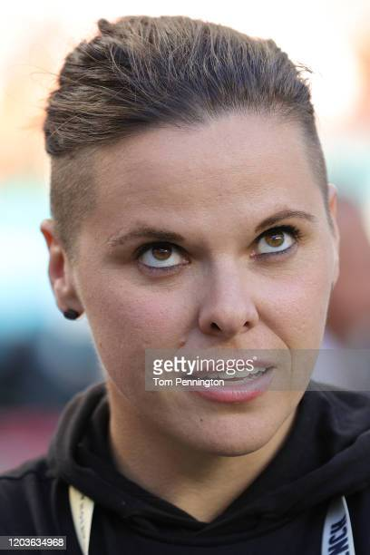 Offensive assistant coach Katie Sowers of the San Francisco 49ers looks during warmups prior to Super Bowl LIV against the Kansas City Chiefs at Hard...