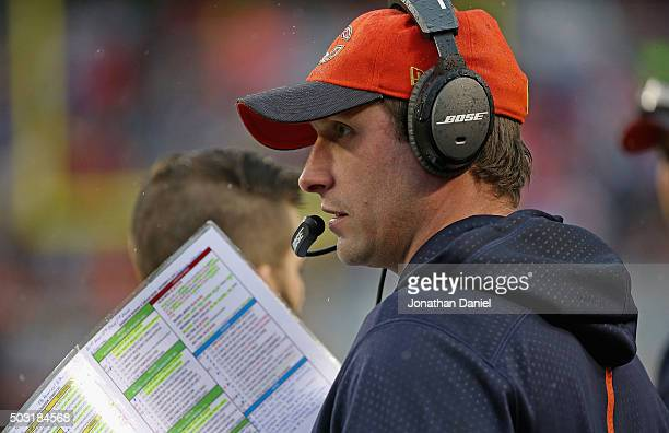 Offensive coordinator Adam Gase of the Chicago Bears calls a play during a game against the Washington Redskins at Soldier Field on December 13 2015...