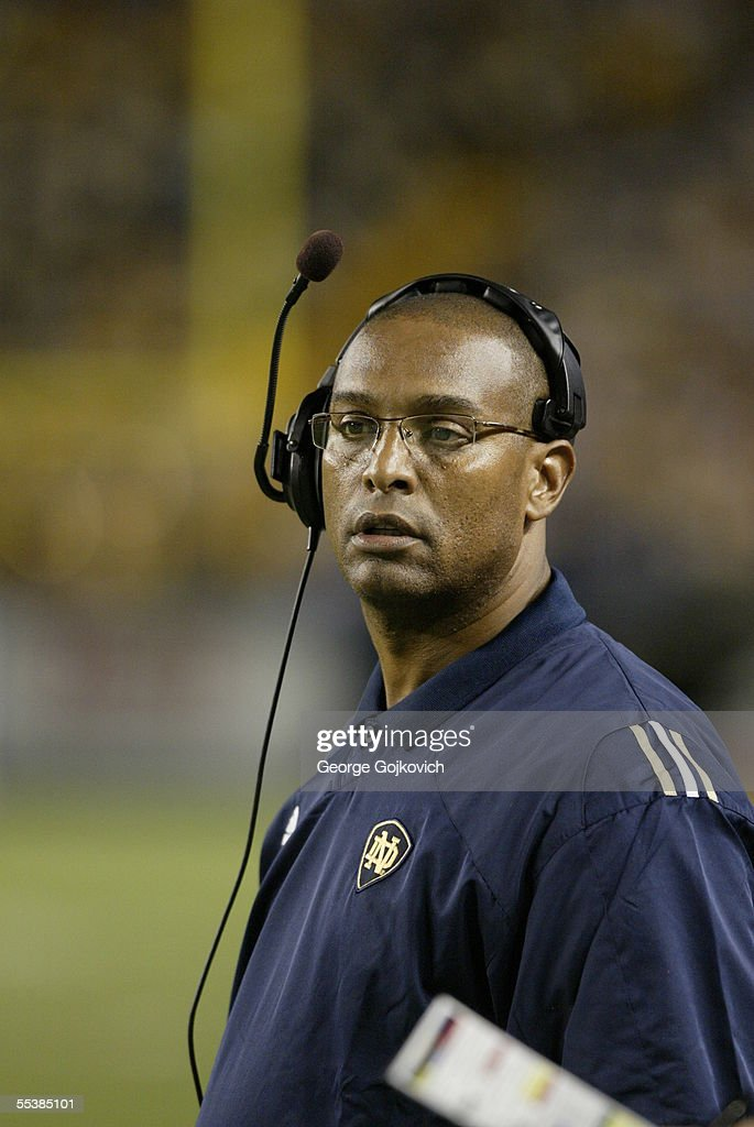 Offensive coordinator and running backs coach Michael Haywood of the Notre Dame Fighting Irish on the sideline during a game against the University of Pittsburgh Panthers at Heinz Field on September 3, 2005 in Pittsburgh, Pennsylvania. Notre Dame defeated Pittsburgh 42-21.