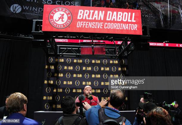 Offensive Coordinator Brian Daboll of the Alabama Crimson Tide speaks to the media during the College Football Playoff National Championship Media...