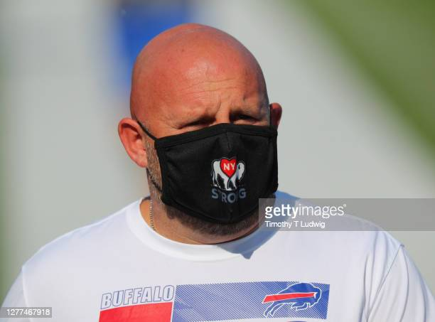 Offensive coordinator Brian Daboll of the Buffalo Bills before a game against the Los Angeles Rams at Bills Stadium on September 27, 2020 in Orchard...
