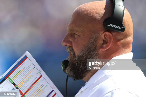Offensive Coordinator Brian Daboll of the Buffalo Bills calls a play in the second half against the New York Giants at MetLife Stadium on September...