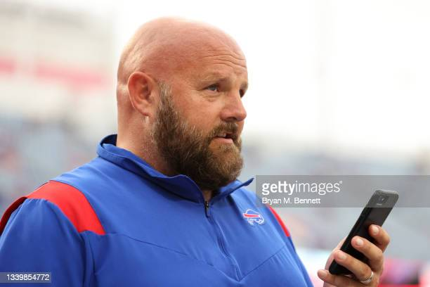 Offensive coordinator Brian Daboll of the Buffalo Bills looks on prior to the game against the Pittsburgh Steelers at Highmark Stadium on September...