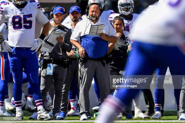 Offensive coordinator Brian Daboll of the Buffalo Bills on the sideline in the first quarter of a game against the New York Giants on September 15,...